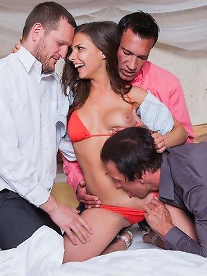 Sexy slut fucks three guys...